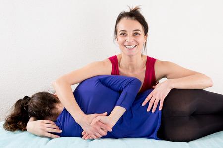 shiatsu: Woman having Shiatsu massage Stock Photo