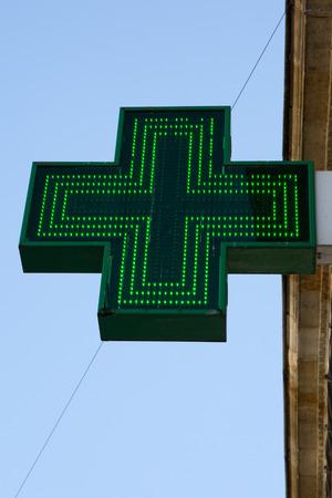drug store: Pharmacy sign or Drug store symbol (Green cross) Stock Photo