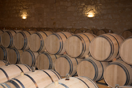 Wine cellar with barrels in stacks