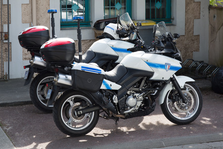 a white police motorcycle: Bike of the municipal Police