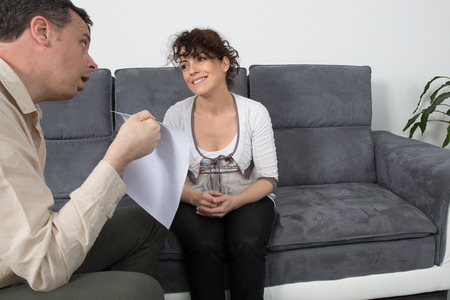 first date: Man and woman meeting on a casual first date Stock Photo