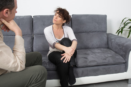 first date: Couple meeting on a casual first date indoors