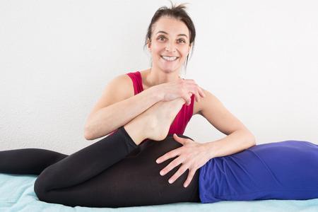 shiatsu: Woman having a shiatsu massage by a therapist