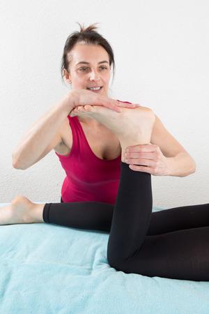 shiatsu: Young woman having a shiatsu massage