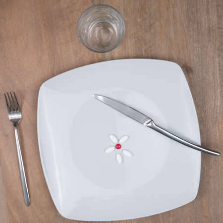 food supplement: A Pills on a plate as food supplement Stock Photo