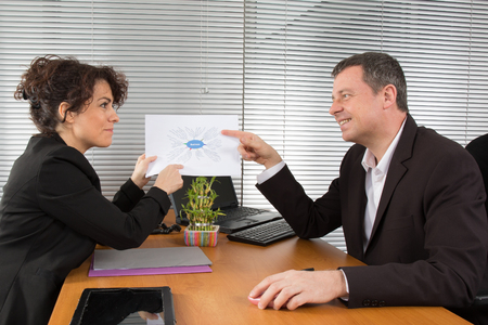 new strategy: Business people analysing new strategy Stock Photo