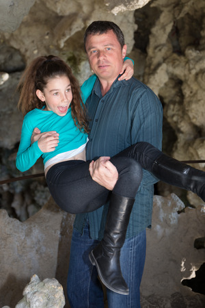 complicity: Nice complicity between a father and his daughter Stock Photo