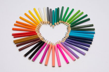 Valentines day love concept with colored pencils photo