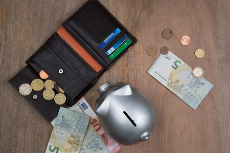 buisness: Buisness, banking and savings concept -   money into small grey piggy bank