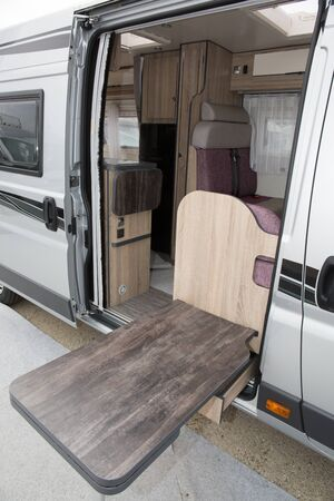 self contained: Camping car or Motor home ready to hit the open road Stock Photo