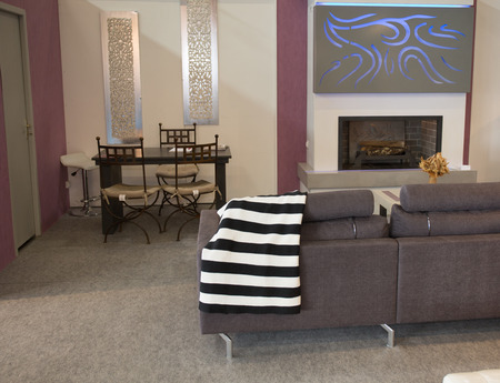 fire place: A living room in contemporary style with a fire place