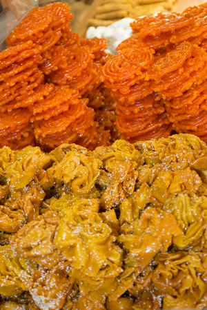 moroccan cuisine: Traditional moroccan sweets on sale at Marrakesh market