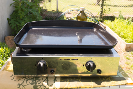 ou: Plancha ou BBQ grill without food in a garden