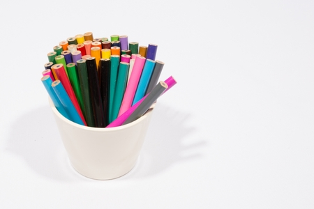 tidiness: Colorful pencils isolated in white
