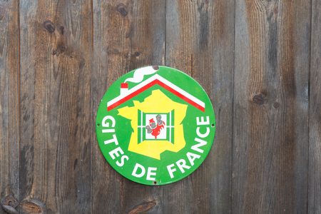 bb: A sign Gite de France  B&B in french on wooden background Stock Photo