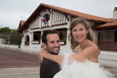 basque woman: Happy newly wedding couple , much complicity between them Stock Photo
