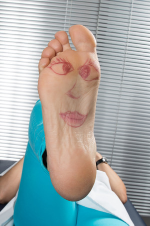 podiatry: Happy and funny couple summer foot Stock Photo