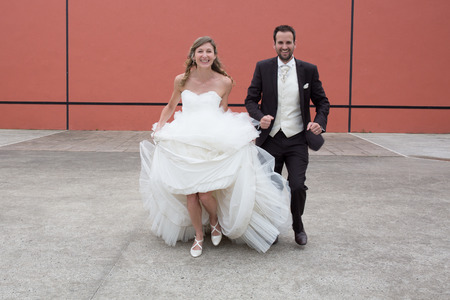 a newly married couple: Lovely and happy wedding couple - newly married couple Stock Photo