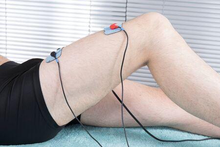 electrode: electrode on the man