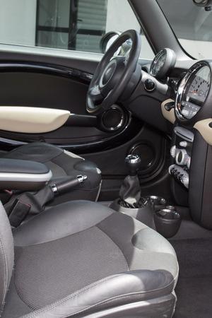 headrest: Modern car interior - Leather car seats. Interior detail. Stock Photo