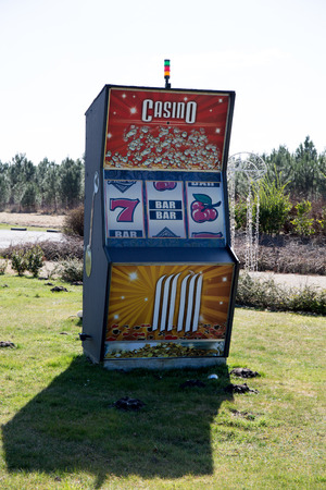 slot machines: Slot machines outside in a field , surprising picture