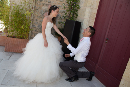 newlywed couple: Charming newlywed couple outside