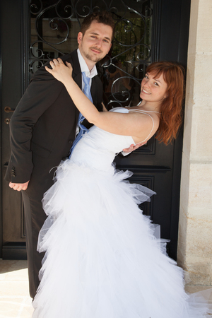 newlywed couple: Sweet newlywed couple happy and in love
