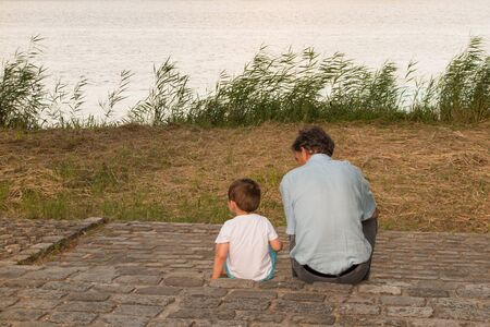 grand son: Grand father and grand son sharing time together