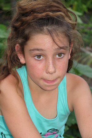 caucasian girl: Ten years old caucasian girl outdoors with freckles