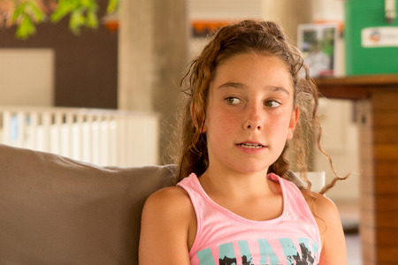 11 year old girl: Girl happy 10 years old on holidays at summertime