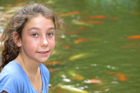 10 years old: Pretty girl, 10 years old at summertime Stock Photo