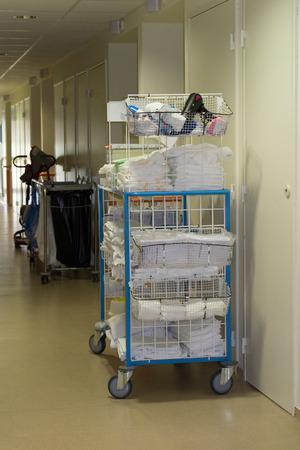 healthcare facilities: Laundry in hallway of hospital