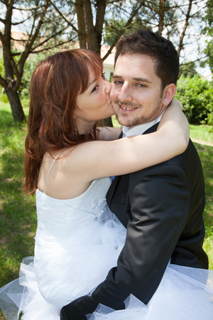 a newly married couple: Happy newly married couple in love