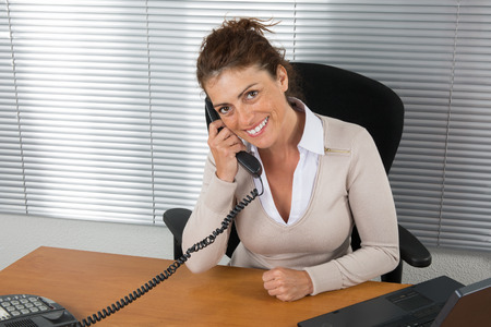 buisness woman: Modern business woman in the office with copy space