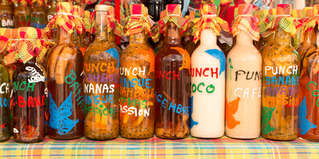 At the market place a Ti punch bottles