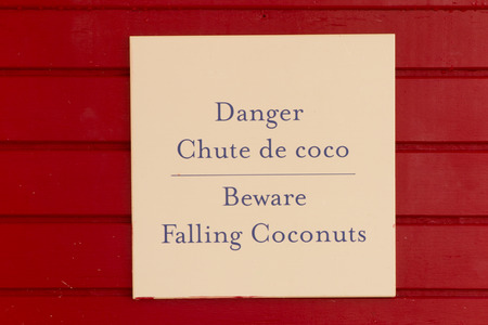 be careful: A panel to be careful to coconuts falling Stock Photo