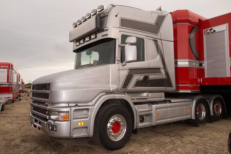 trucker: Red and grey american truck Stock Photo
