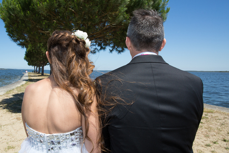 lovely couple: Back view of a lovely couple Stock Photo