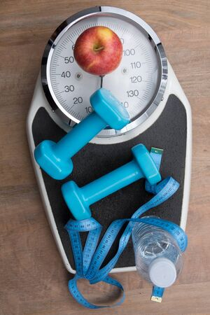 analog weight scale: For a healthy life , scale and apple