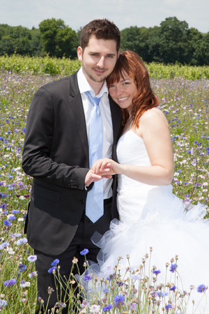 newly: Newly lovely wedding couple happy in the country