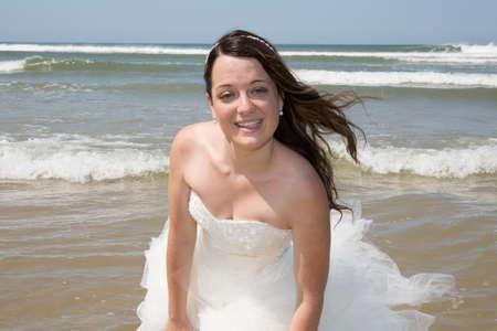 serf: bride on beautiful Maldivian beach