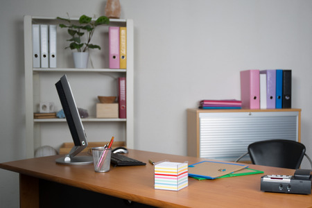 empty: Small, simple and clean office interior Stock Photo