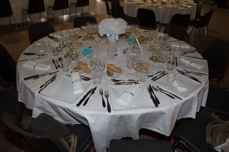 catered: wedding tables set for fine dining or another catered event