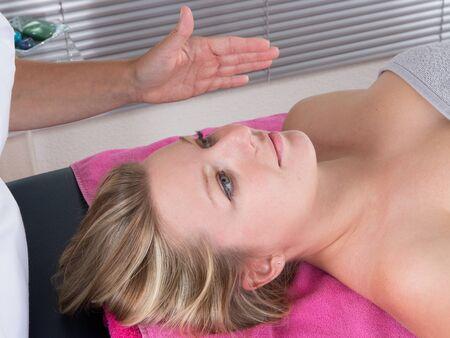 third eye: Head massage therapy  of shiatsu alternative medecin Stock Photo