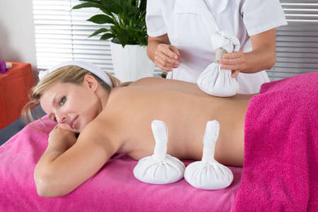 rejuvenate: Young beautiful blond woman in spa environment