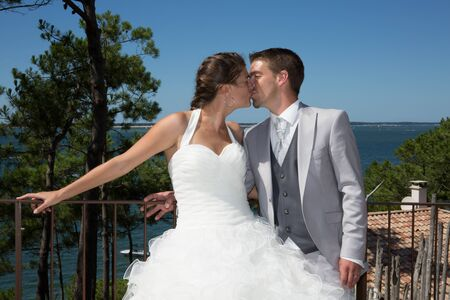 twosome: Beautiful and lovely wedding couple at the beach Stock Photo