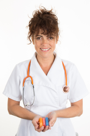healing practitioners: Female doctor with homeopathic tube, alternative medecine