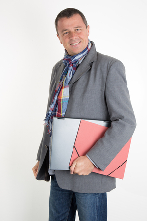 wherever: Elegant Man connected wherever he goes with his laptop Stock Photo