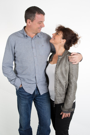middle age couple: Lovely middle age couple isolated on white Stock Photo