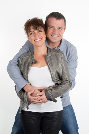 40 years old: A lovely happy couple, 40 years old isolated